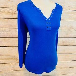 4/$20 Great Condition Rafaella Blue Blouse